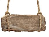 Velmi ročník vývěsní štít s staré lano — Stock fotografie