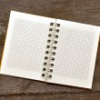 White blank note paper on old wood panel — Stock Photo