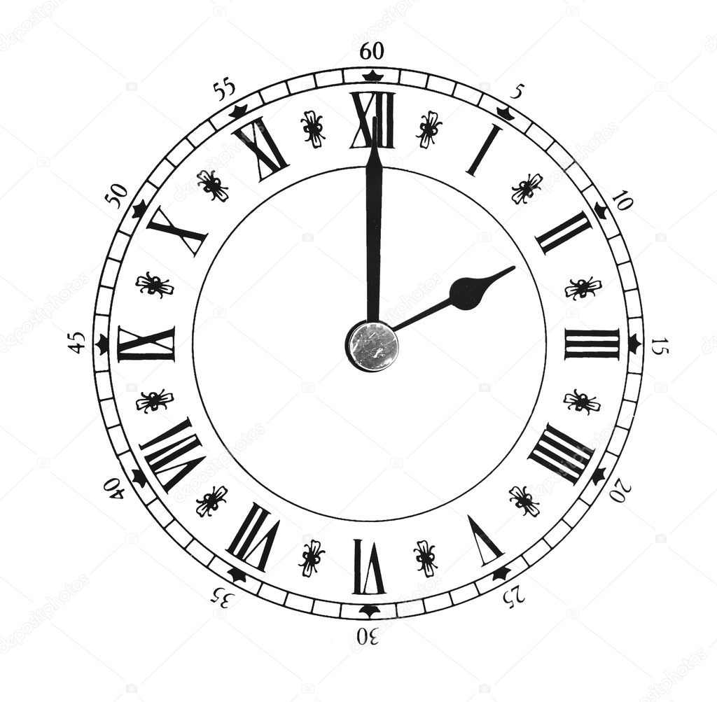 Vintage clock on white background — Stock Photo #7619309