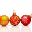 Beautiful red and yellow christmas decoration ball — Lizenzfreies Foto