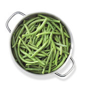 Green beans in pan — Stock Photo