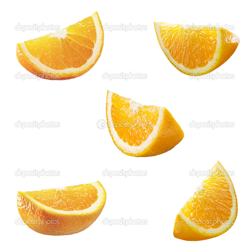 5 high resolution orange parts isolated on white — Stock Photo #7176730