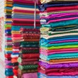 Colorful fabrics in the store — Stock Photo