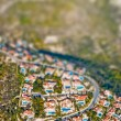Residential area with tilt shift lens effect — Stock Photo