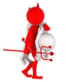Devil carrying businessman on shoulder — Stock Photo