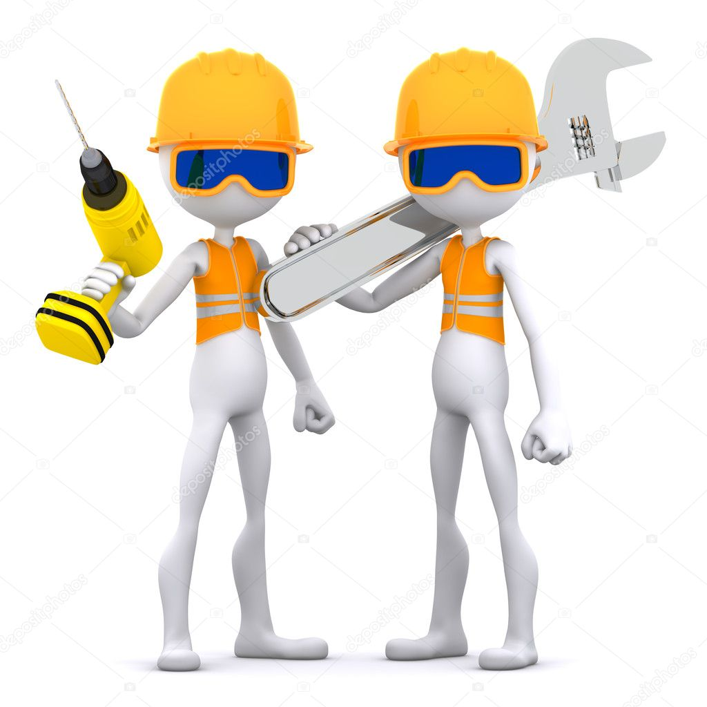 Group of construction worker with equipment. Isolated  Stock Photo #7557546