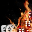 Cards in fire - Stock Photo