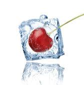 Cherry frozen in ice cube — Stock Photo