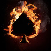 Card symbol in fire — Stock Photo