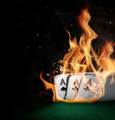 Cards in fire — Stock Photo