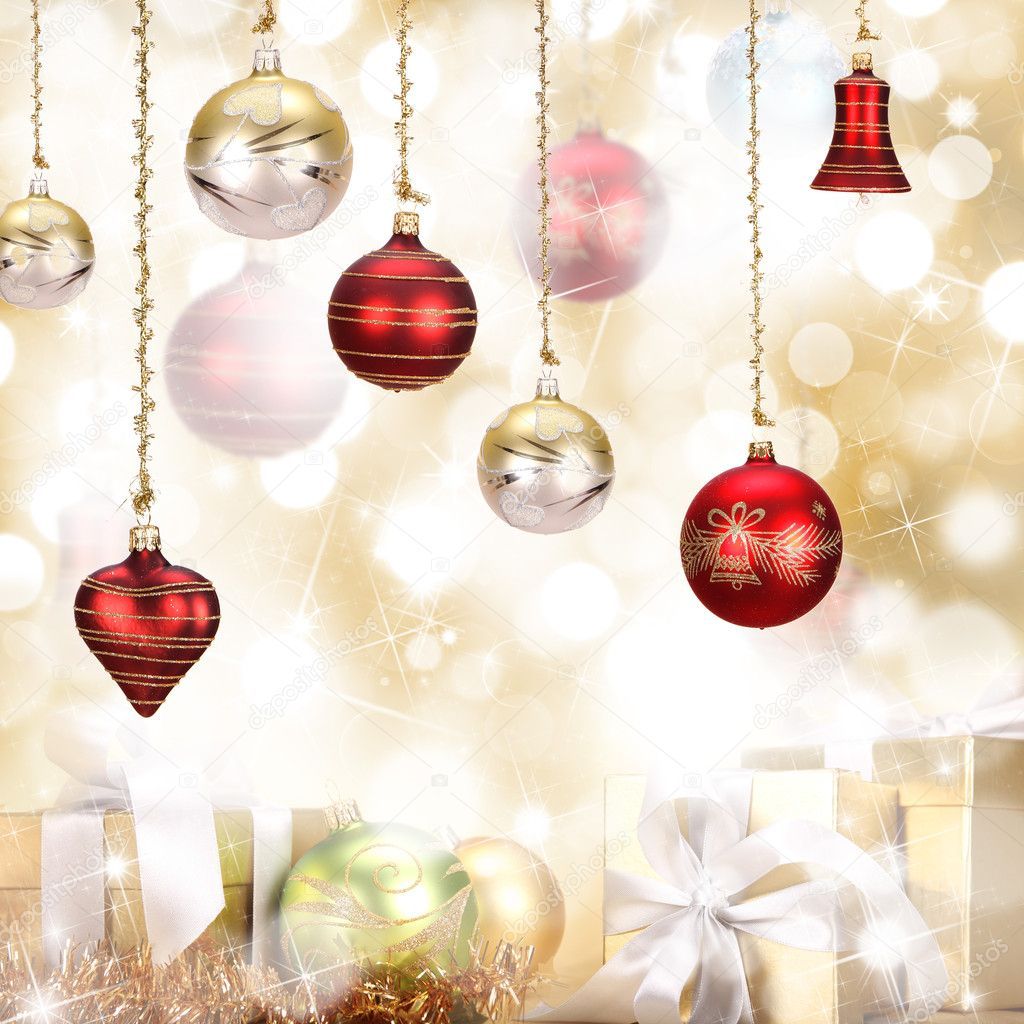 Christmas background in gold theme — Stock Photo #7200362
