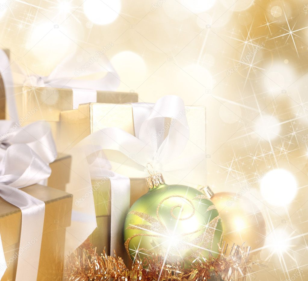 Christmas background in gold theme — Stock Photo #7200368