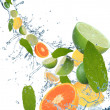 Fresh fruit in motion - Stock Photo