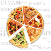 Pizza with a text background — Stock Photo