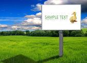 Grande cartellone su campo verde — Foto Stock