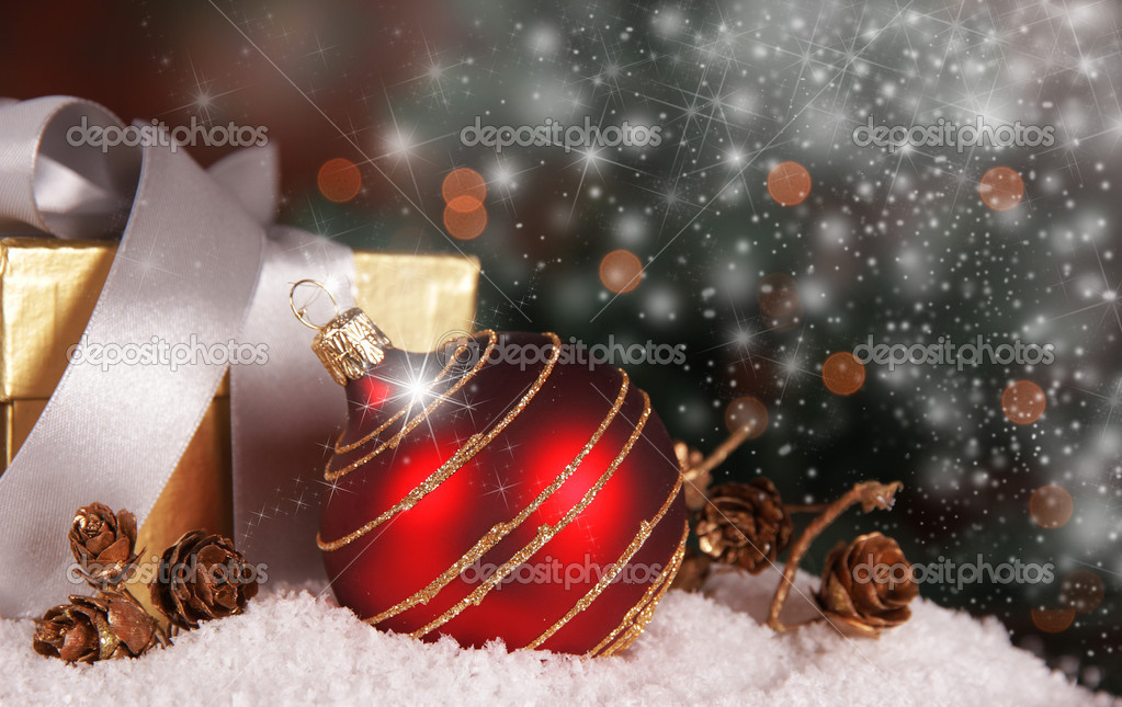 Christmas background with snow flakes — Stock Photo #7366698