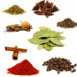 Collection of colored spices isolated on white — Stock Photo