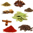 Collection of colored spices isolated on white — Stock Photo #7698019