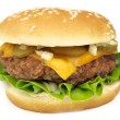 Cheeseburger on white background - Stock Photo