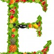 Fruit and vegetable letter e — Stock Photo