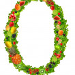 Fruit and vegetable letter o — Stock Photo