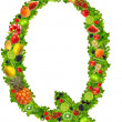 Fruit and vegetable letter q — Stock Photo