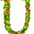 Fruit and vegetable letter u — Stock Photo