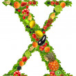Stock Photo: Fruit and vegetable letter x