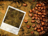 Coffee grunge background with old photo frame — Stock Photo