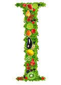 Фруктовые и овощные буква i — Стоковое фото