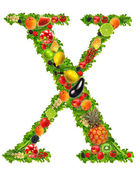 Fruit and vegetable letter x — Stock Photo