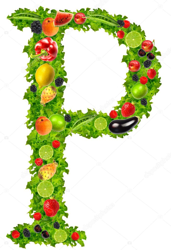 Fruit and vegetable letter p - Stock Image