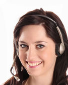 Beautiful woman operator with headset — Stock Photo