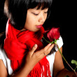 Korean girl with a rose — Stock Photo