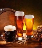Stilleben med ett fat öl — Stockfoto