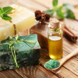 Pieces of natural soap. - 图库照片