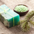 Pine soap with sea-salt. - Stock Photo