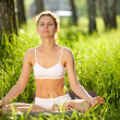 Practicing of yoga outdoors. — Foto Stock