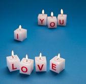 """""""Jag älskar dig"""" tryckt på ljus. — Stockfoto"""