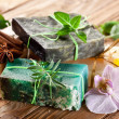 Pieces of natural soap. - Stock Photo
