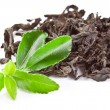Heap of dry tea with green tea leaves. - Foto de Stock