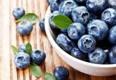 Blueberries with leaves — Stock Photo
