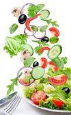 Latające warzywa - sałatka składników. — Zdjęcie stockowe