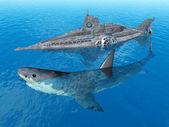 Fantasy Submarine with Giant Shark — Stock Photo