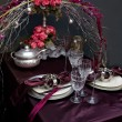 Decoration on christmas table — Stock Photo