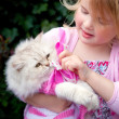 Cat and girl — Stock Photo
