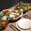 Decoration on christmas table — Stock fotografie