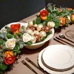 dekorace na vánoční stůl — Stock fotografie
