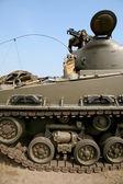 Soldier on modern tank — Stock Photo