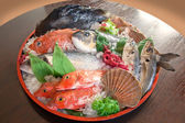 Raw fish on tray — Stock Photo